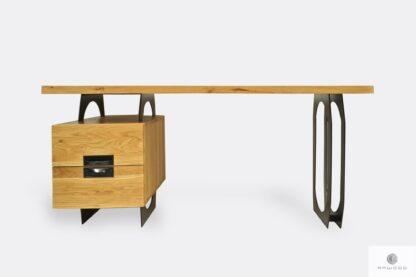 Biurko dębowe z metalowymi nogami do biura kancelarii WALT