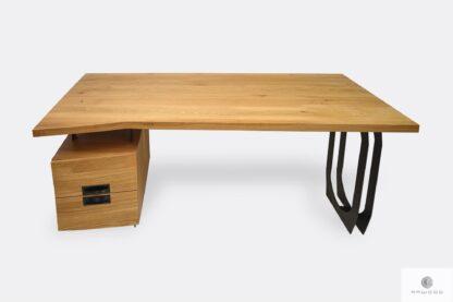 Biurko z drewna litego dębowego i czarnej stali z szufladami w stylu industrialnym WALT