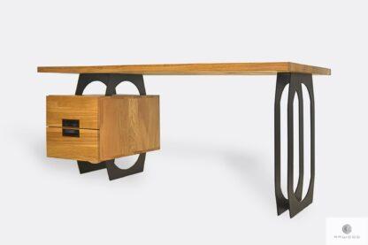 Dębowe biurko gabinetowe na metalowych nogach do biura WALT