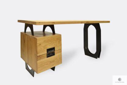 Drewniane biurko industrialne z szufladami do biura WALT