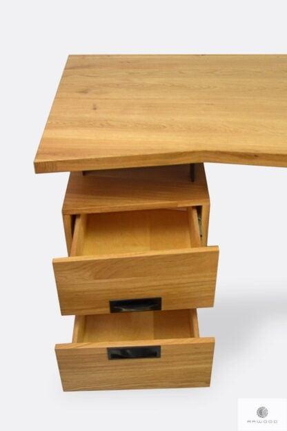 Drewniane biurko z szufladami industrialne do gabinetu WALT