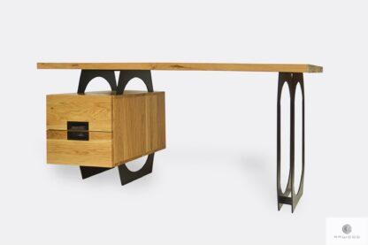 Industrialne biurko dębowe na metalowych nogach WALT