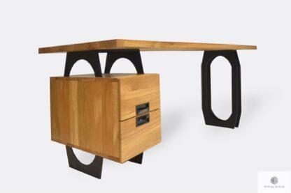 Industrialne biurko dębowe z szufladami i czarnymi metalowymi nogami WALT