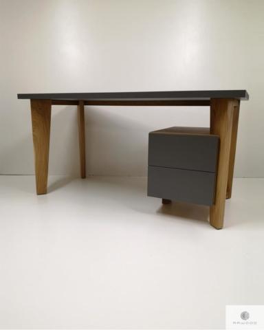 Designerskie biurko z drewnianymi nogami i kontenerkiem do gabinetu GRAND find us on https://www.facebook.com/RaWoodpl/