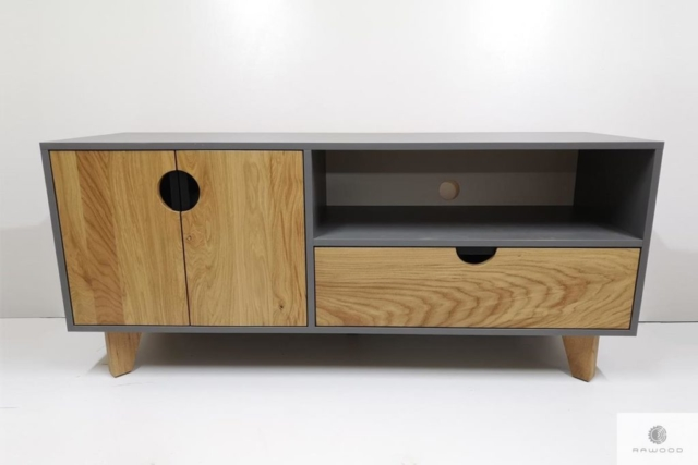 Elegancka szafka pod telewizor z drewna i plyty do salonu GRAND find us on https://www.facebook.com/RaWoodpl/