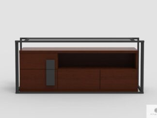 Industrialna szafka RTV z drewna dębowego do salonu DALLAS