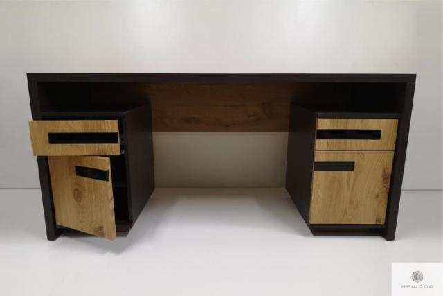 Debowe biurko nowoczesne z litego drewna do gabinetu biura LAGOS