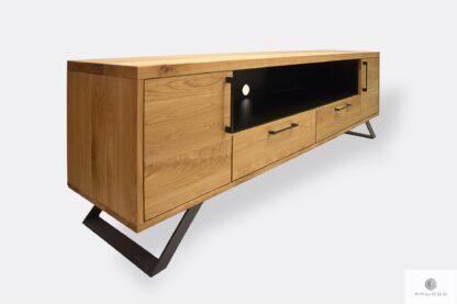Dębowa szafka pod telewizor industrialna z drewna stali JORGEN