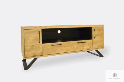 Dębowa szafka pod telewizor z metalowymi nogami do przedpokoju JORGEN