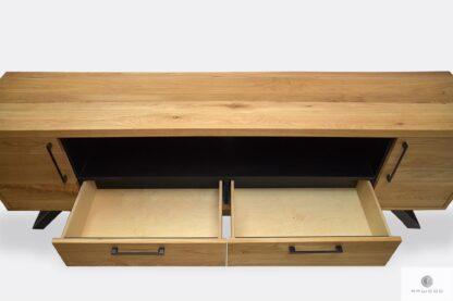 Dębowa szafka RTV z szufladami szafkami na metalowych nogach JORGEN