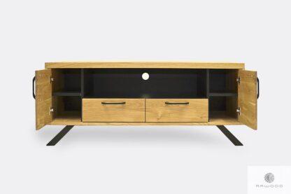 Drewniana szafka RTV w industrialnym stylu z szufladami JORGEN