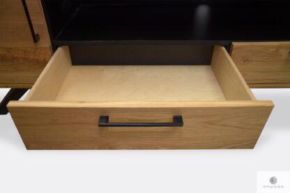 Drewniana szafka RTV z szufladami z industrialnymi uchwytami JORGEN