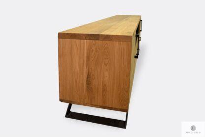 Nowoczesna szafka pod telewizor z drewna litego do salonu JORGEN