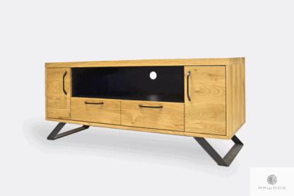 Szafka RTV z drewna dębowego z szufladami do salonu JORGEN