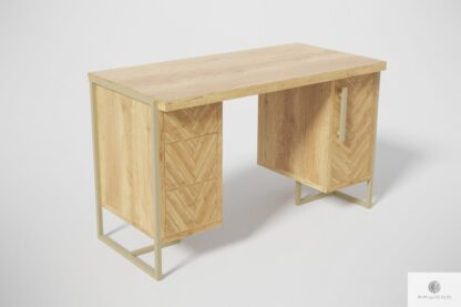 Dębowe biurko gabinetowe z drewna i stali do biura gabinetu CARIN I Producent Mebli RaWood Premium Furniture