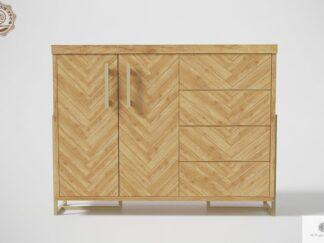 Komoda z dębowego drewna w jodełkę do salonu CARIN Producent Mebli RaWood Premium Furniture