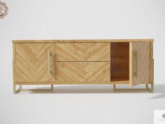 Nowoczesna szafka RTV drewniana z motywem jodełki do salonu CARIN Producent Mebli RaWood Premium Furniture