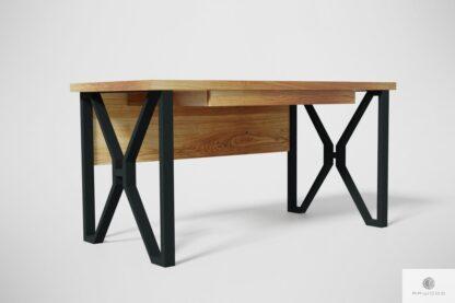 Nowoczesne dębowe biurko na metalowych nogach do gabinetu GORAN Producent Mebli RaWood Premium Furniture