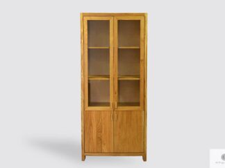 Dębowa witryna na książki z litego drewna do salonu gabinetu DAVOS