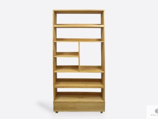 Dębowy regał na książki z drewna litego do salonu gabinetu DAVOS