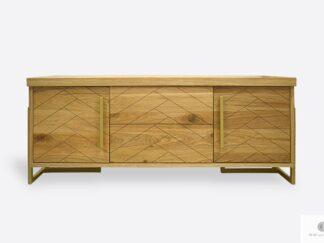 Nowoczesna szafka RTV drewniana z motywem jodełki do salonu CARIN