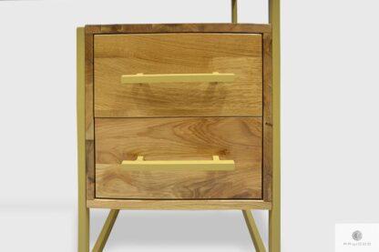 Biurko dębowe z kontenerkiem z szufladami i złotymi uchwytami GERDA