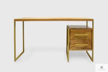 Biurko industrialne drewniane z metalowymi nogami do biura GERDA