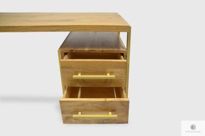 Biurko z drewna litego z szufladami ze złotymi metalowymi nogami GERDA
