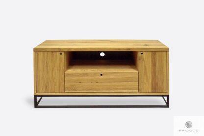 Dębowa szafka RTV na metalowej podstawie do salonu MERIS