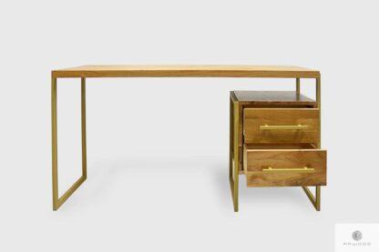 Dębowe biurko z metalowymi nogami i szufladami do biura GERDA