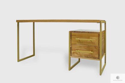 Industrialne biurko dębowe z szufladami do gabinetu GERDA