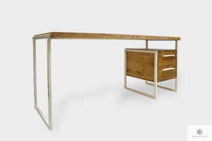 Industrialne biurko loft dębowe na białych metalowych nogach GERDA
