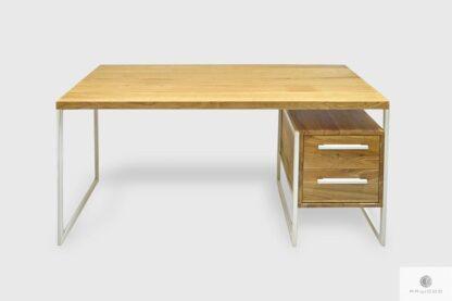 Industrialne biurko z litego drewna z szufladami na metalowych nogach GERDA