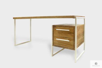 Industrialne dębowe biurko z szufladami do gabinetu GERDA