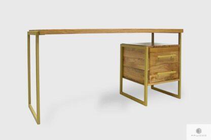 Stylowe biurko z dębowego drewna litego na metalowych nogach GERDA