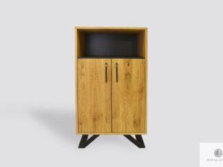 Dębowa szafka z drewna litego i metalu do salonu JORGEN II
