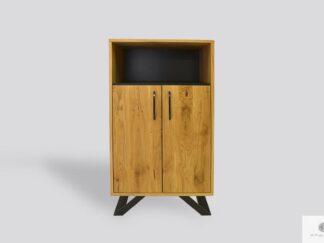 Dębowy słupek do salonu z drewna litego i metalu JORGEN II