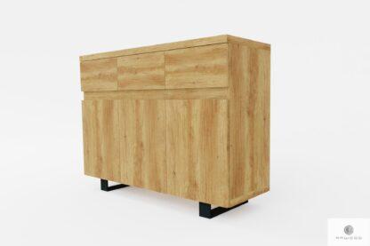 Drewniana komoda z frezowanymi uchwytami do salonu DELIO