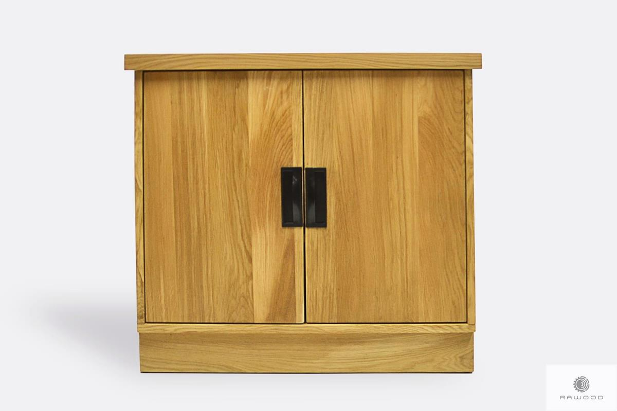 Dębowa komoda z półkami z drewna litego do salonu WALT II