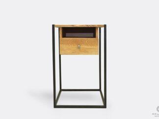 Dębowa konsola loft z szufladą industrialna do salonu przedpokoju KING