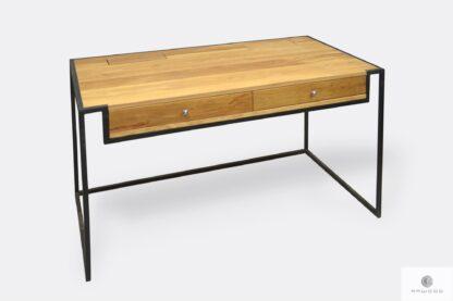 Industrialne biurko z drewna litego i stali z szufladami do biura KING