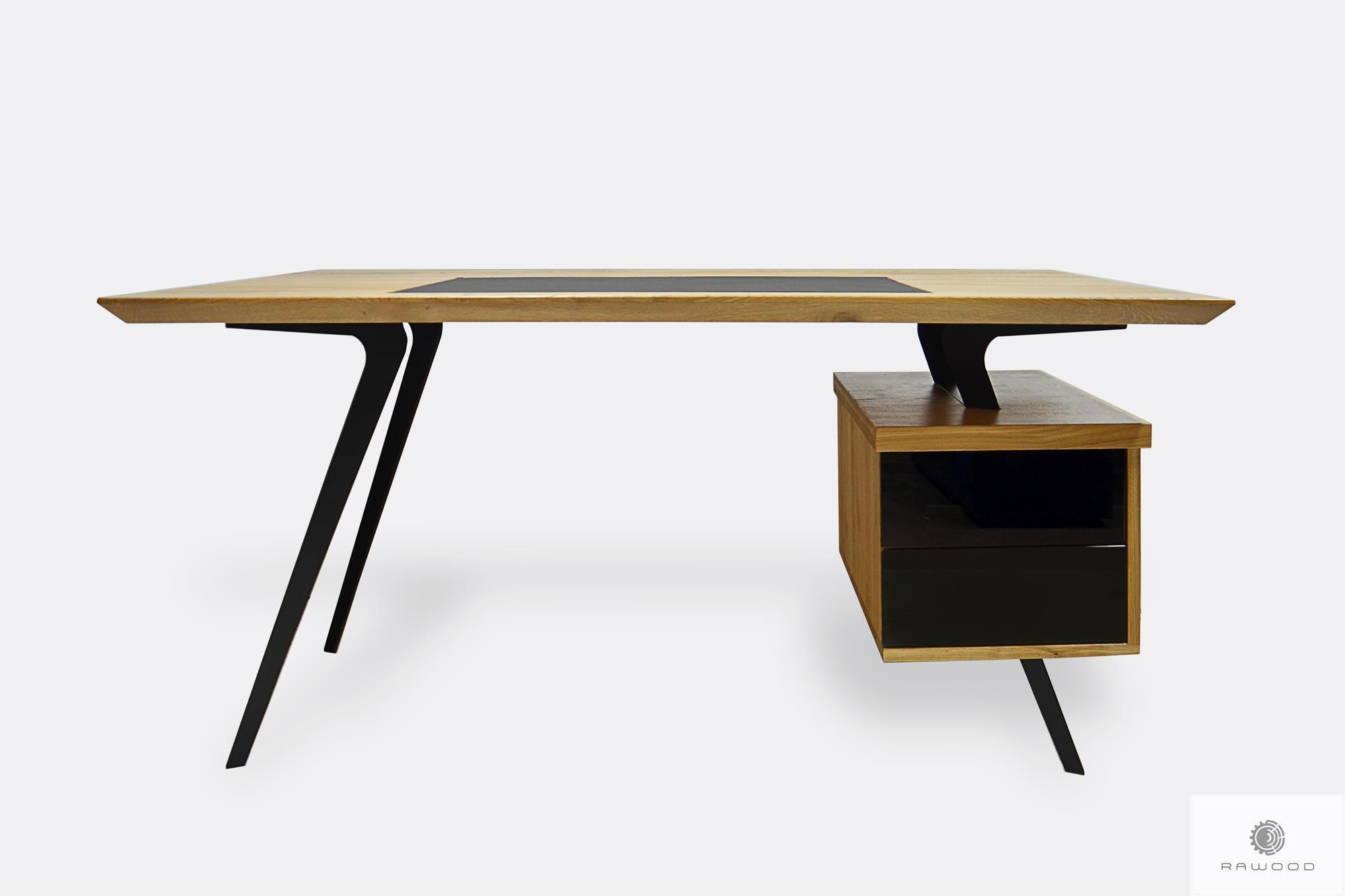 Designerskie biurko dębowe na metalowych nogach do biura VITA