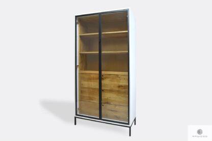 Drewniana witryna szklana z szufladami półkami do gabinetu CARLA II