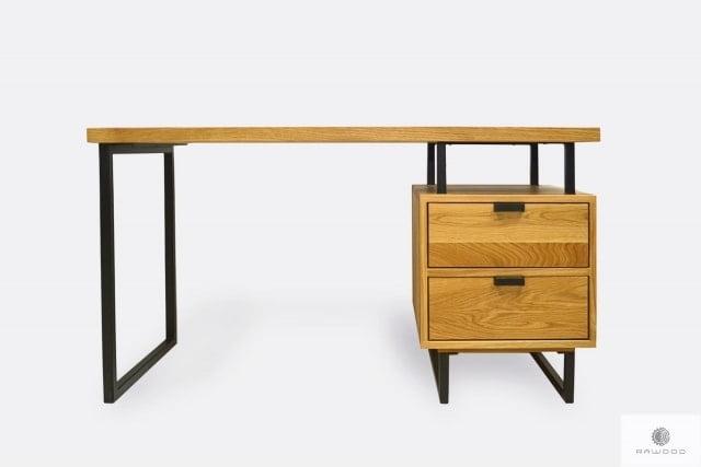 Industrialne biurko z dębowego drewna do gabinetu kancelarii HUGON