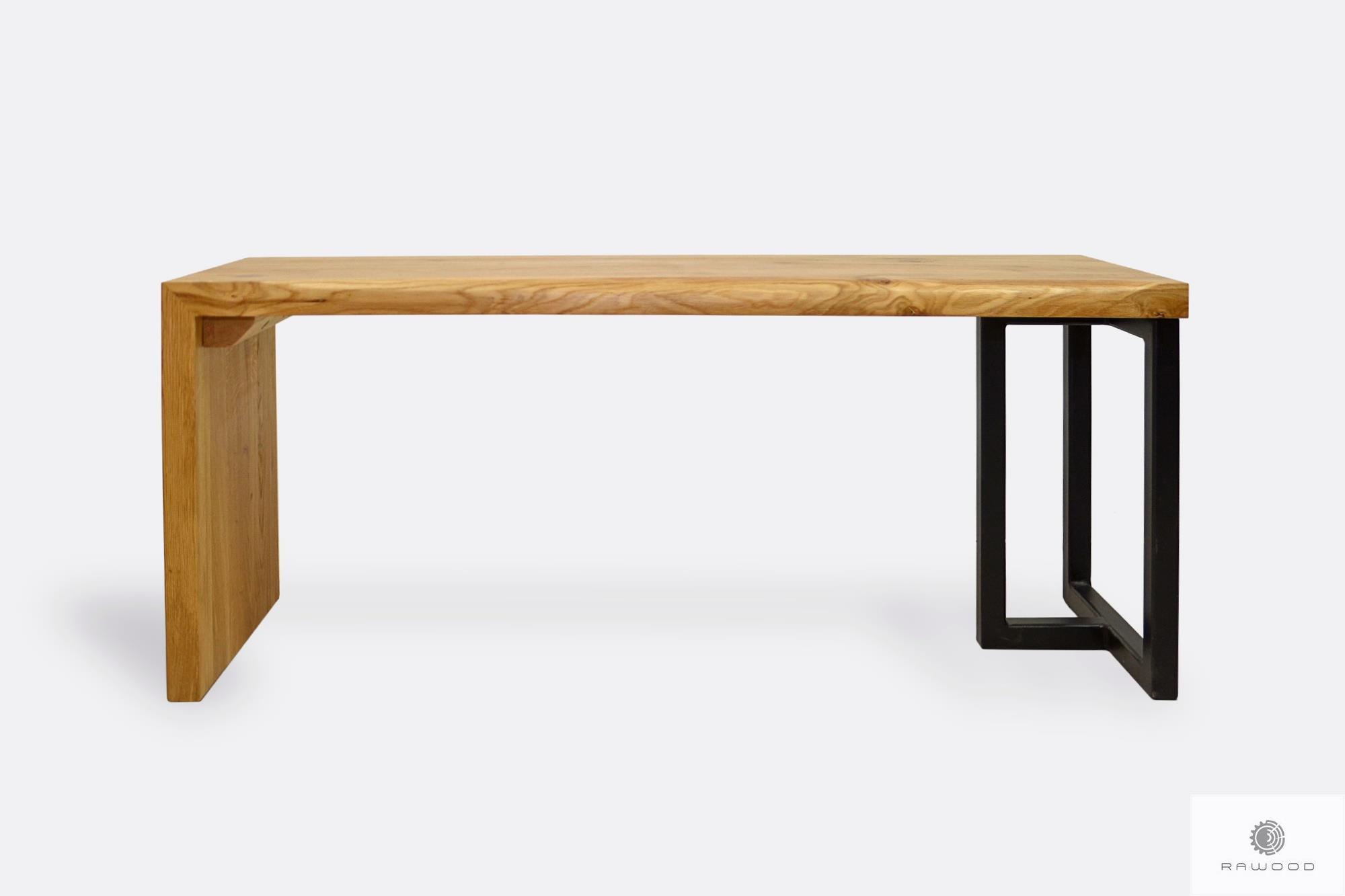 Ławka z drewna dębowego i stali do salonu przedpokoju HUGON