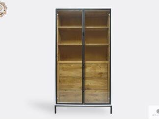 Witryna drewniana z półkami i szufladami do salonu CARLA II