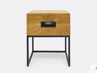 Dębowy stolik nocny loft z szufladą do sypialni WALT II