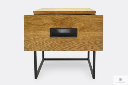 Dębowy stolik nocny z szufladą z drewna litego na zamówienie WALT