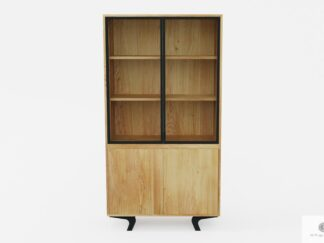 Designerska witryna dębowa z litego drewna do salonu VITA
