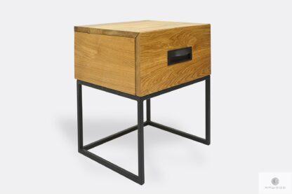 Industrialny stolik nocny drewniany z szufladą do sypialni WALT